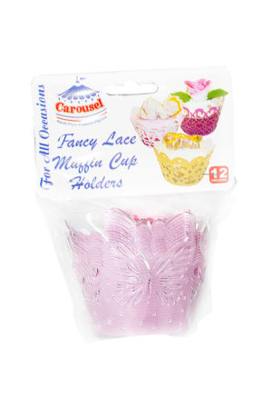 FANCY LACE MUFFIN CUP HOLDERS LARGE (ASSORTED COLOUR) 12's