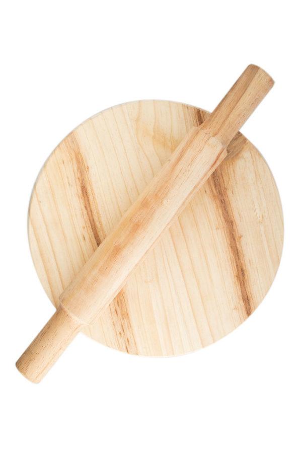 Round Wooden Bread Board Set